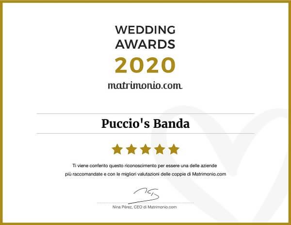 matrimonio.com wedding awards 2020 Puccio's Banda feedback recensioni miglior gruppo dell'anno
